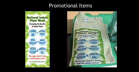Promotional items available from National Indoor Plant Week